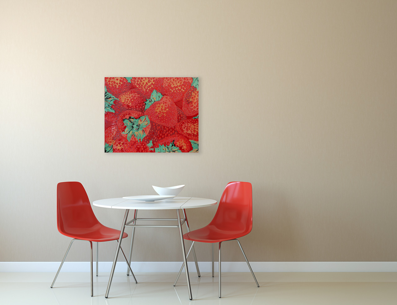 Red food painting for kitchen or breakfast bar