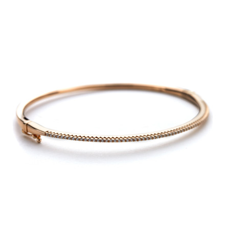 Oval Crystal Cuff Bangle Rose Gold Vermeil