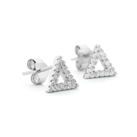 Sterling silver triangle shaped stud earrings with crystals and white rhodium overlay One by One Jewellery