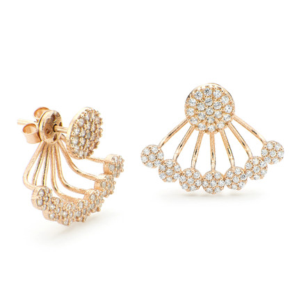 Disc Swinging Under Lobe Earrings CZ Pave Rose Gold Vermeil