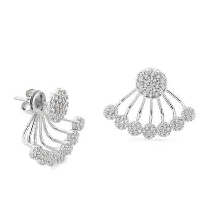Pave CZ Disc Swing Under Lobe Earrings in Sterling Silver