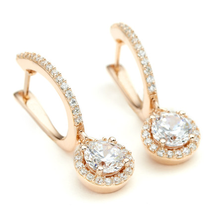 CZ Round Halo Drop Earrings Rose Gold Vermeil