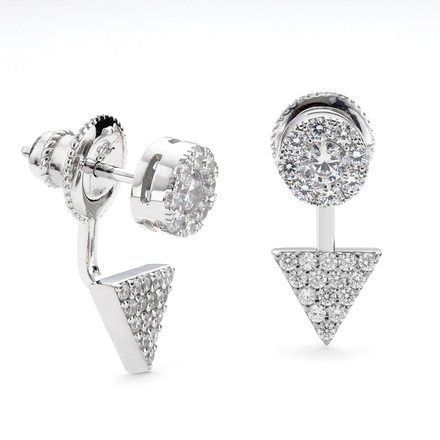 Prism Disc CZ Swing Earrings in Sterling Silver
