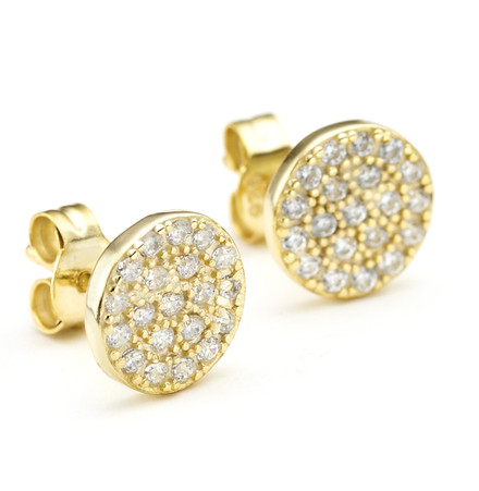 Yellow gold Constellations pave crystal disc stud earrings in sterling silver from One by One Jewellery