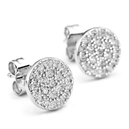 Pave Crystal Disc Studs in Sterling Silver