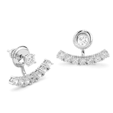 CZ Curved Bar Under Lobe Swing Earrings Sterling Silver