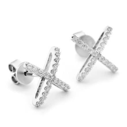 Allobar collection sterling silver atomic cz stone stud earrings white rhodium finish from One by One