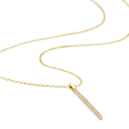 Allobar yellow gold crystal ingot vertical drop pendant necklace on a 40 cm adjustable chain