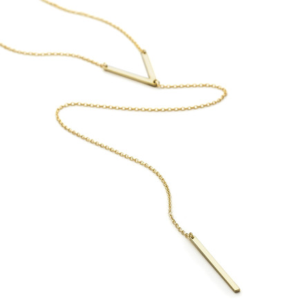 V Bar Lariat Necklace Gold Vermeil over Sterling Silver