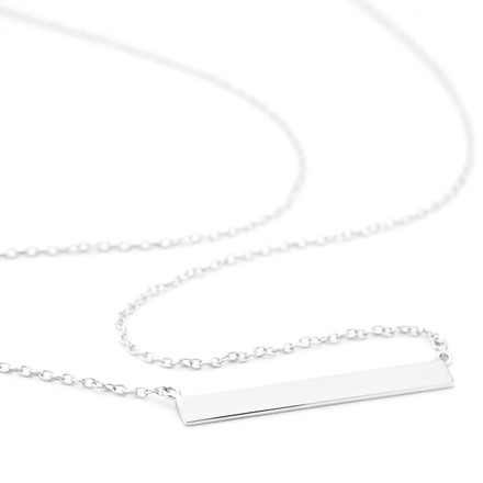 Flat Allobar ingot necklace in sterling silver with white rhodium finish from One by One Jewellery