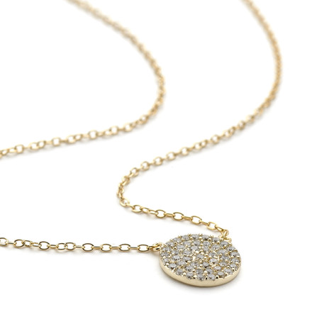 Pave Crystal Disc Necklace Gold Vermeil over Sterling Silver