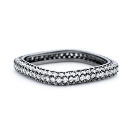 3mm CZ Square Stacking Ring Black Rhodium Plated