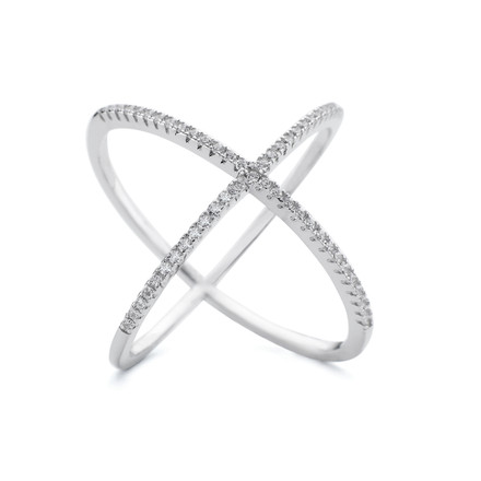 White rhodium coated sterling silver Atomic shaped ring with white crystals from the Allobar collection