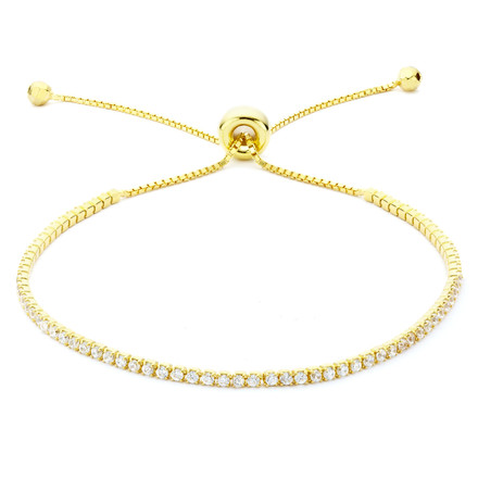 Single Strand CZ Slide Bracelet Gold Vermeil over Sterling Silver
