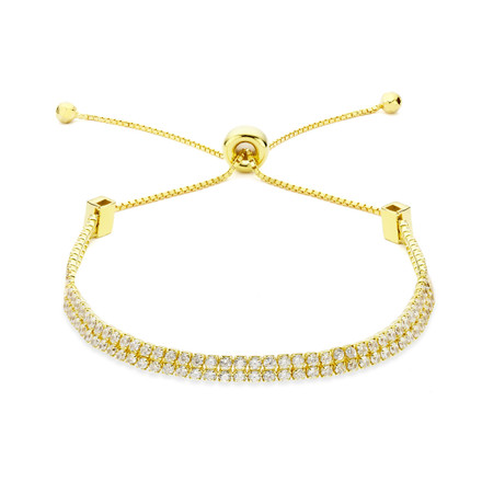 Double strand cz slide bracelet gold vermeil over sterling silver