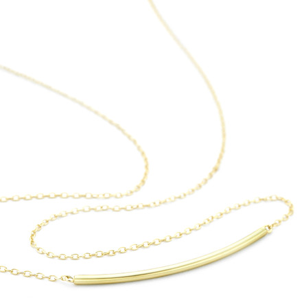 Curved Bar Necklace Gold Vermeil over Sterling Silver