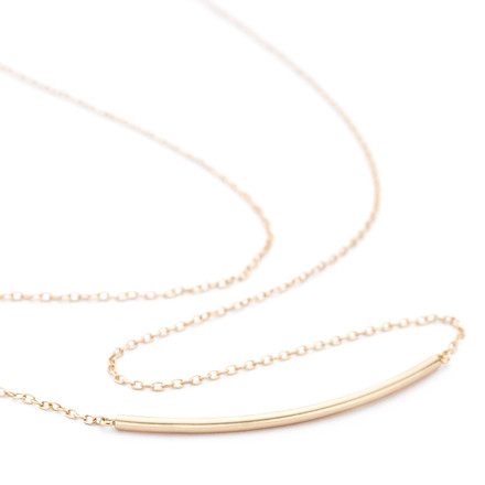 Curved Bar Necklace Rose Gold Vermeil over Sterling Silver - Allobar