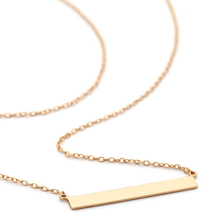 4mm Wide Flat Bar Necklace - Rose Gold Vermeil