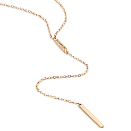 Duo Long Lariat Bar Necklace - Rose Gold Vermeil