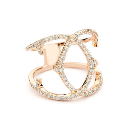 Spur Crossover Ring CZ Pave - Rose Gold Vermeil