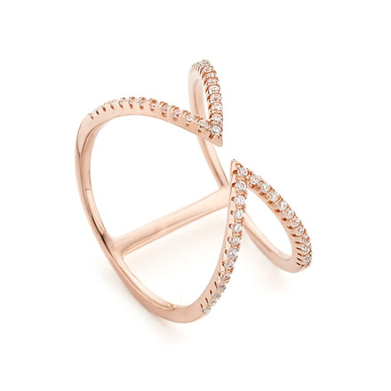 Arrow Open Cuff Ring Rose Gold Vermeil