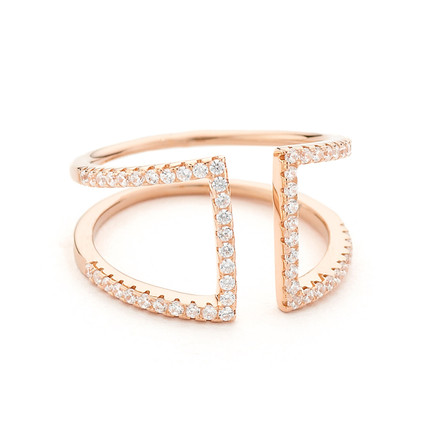Pave CZ Open Ring - Rose Gold Vermeil