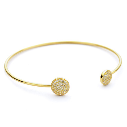 Two disc gold bangle cz pave