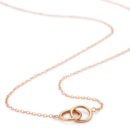 Rose Gold Interlocking Circles Necklace