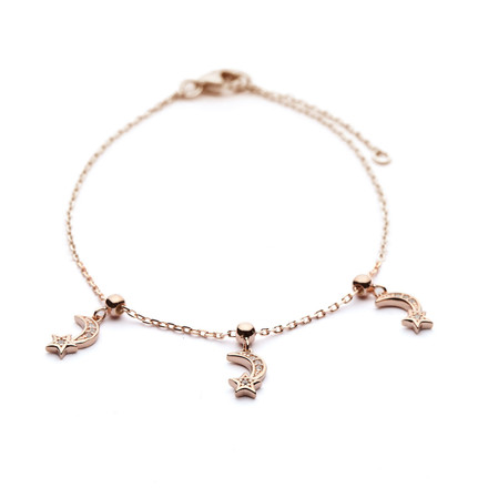 Charm Bracelet Moon and Star Design - Rose Gold Vermeil