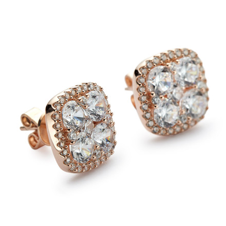 Rose Gold Cluster Stud Earrings with Halo CZs