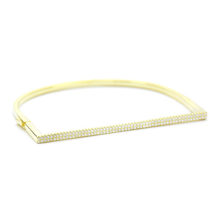 14ct yellow gold vermeil over sterling silver flat front Allobar crystal cuff bangle with locking mechanism