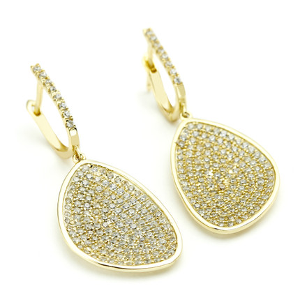 Constellations collection drop earrings with yellow gold vermeil over sterling silver and beautiful shimmering pave crystals