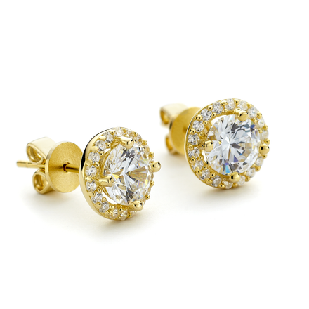 Yellow gold vermeil sterling silver round cz crystal halo stud earrings from OneByOne