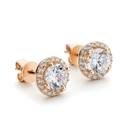 CZ Round Halo Stud Earrings Rose Gold Vermeil