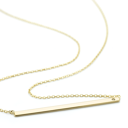 3mm wide sterling silver Allobar Ingot necklace in yellow gold finish with 40 cm extendible chain