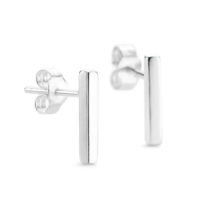 Sterling silver Allobar bar drop ingot earring studs with white rhodium vermeil from One by One