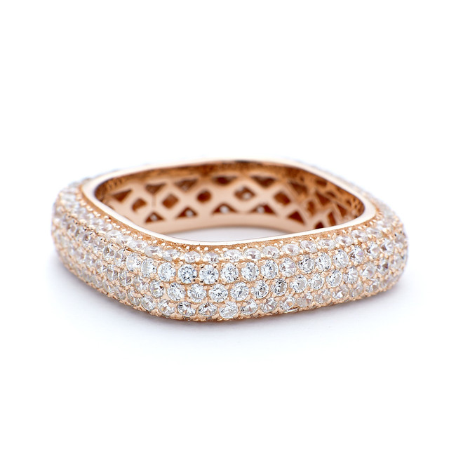 Rose gold square ring 5mm thick. Sterling silver with CZ crystals.