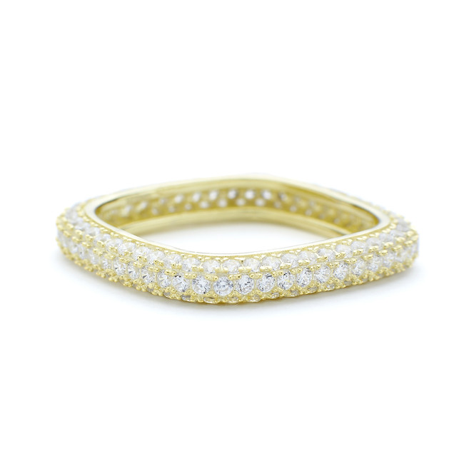 3mm thin yellow gold vermeil square ring with white CZ crystals around entire outside in silver