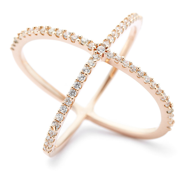 Rose gold vermeil Allobar collection crystal set Atomic shaped ring in 925 sterling silver core metal