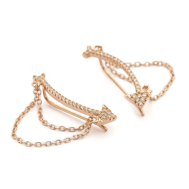 cuff earrings chains with cz arrow - rose gold vermeil