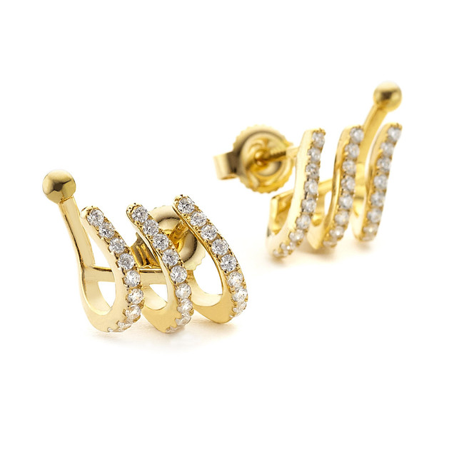 pave cz cuff earrings yellow gold vermeil