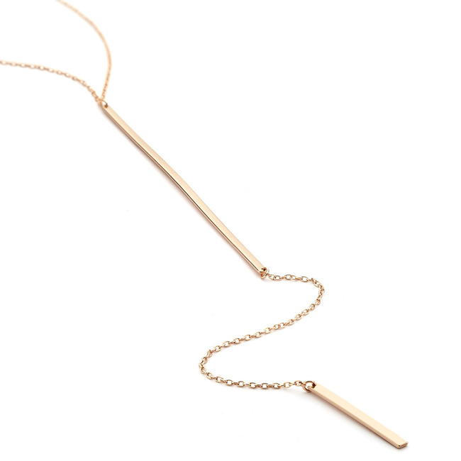 drop bar lariat necklace - rose gold vermeil