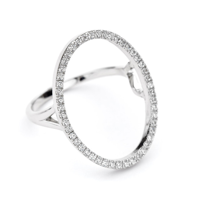 sterling silver oval open circle ring cz pave