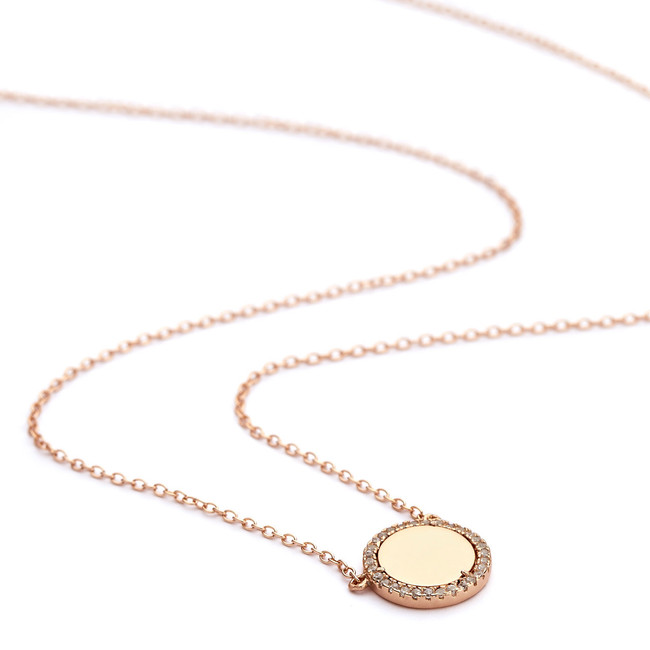 CZ halo mirror disc pendant necklace rose gold