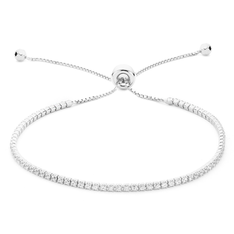 White rhodium over sterling silver core metal single strand CZ slide bracelet from One by One