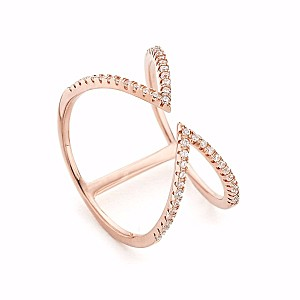 Arrow Open Cuff CZ Ring Rose Gold