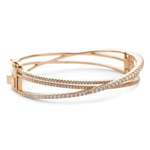 Crossover CZ Bangle Bracelet in Rose Gold