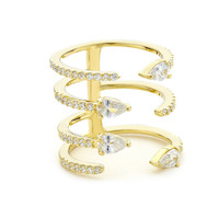 Gold Pear Crystal open Stacking Ring