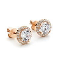 Rose Gold Halo Stud Earrings wi Round CZ at center