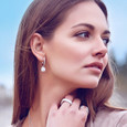Lifestyle square cz halo drop earrings rose gold vermeil over sterling silver - constellations